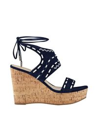Ivanka Trump - Blue Zader Platform Wedge Sandals - Lyst