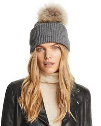 Inverni - Gray Balabella Fur Pom-pom Convertible Beanie - Lyst