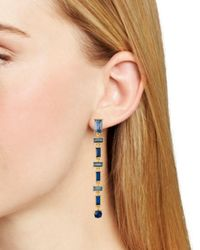 Aqua - Multicolor Baguette Linear Drop Earrings - Lyst