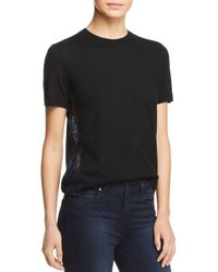 Tory Burch - Black Ruby Lace-inset Short-sleeve Sweater - Lyst