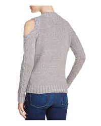 Aqua - Gray Cable Knit Cold-shoulder Sweater - Lyst