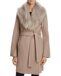 T Tahari - Brown Flora Faux Fur-trim Wrap Coat - Lyst