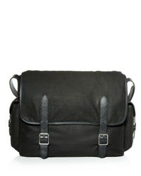 John Varvatos - Black Militia Waxed Canvas Messenger Bag for Men - Lyst