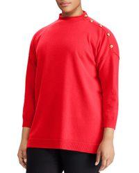 Ralph Lauren - Red Lauren Plus Button Detail Cashmere Sweater - Lyst
