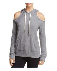 Splendid - Gray Cold-shoulder Hooded Sweatshirt - Lyst