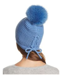 Kyi Kyi - Blue Slouchy Hat With Fox Fur Pom-pom - Lyst