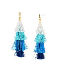 Rebecca Minkoff - Blue Stacked Tassel Drop Earrings - Lyst