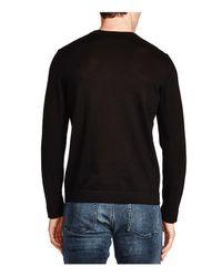 The Kooples - Black Leather Trim Merino Wool V-neck Sweater for Men - Lyst