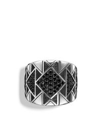 David Yurman - Metallic Frontier Signet Ring With Black Diamonds - Lyst