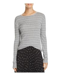 Vince - Gray Striped Rib-knit Tee - Lyst