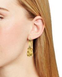 Aqua - Metallic Loop Hoop Earrings - Lyst