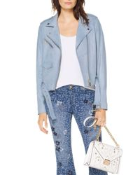 MICHAEL Michael Kors - Blue Leather Moto Jacket - Lyst