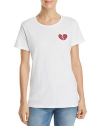 French Connection - White Floral-heart Graphic Tee - Lyst