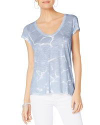 Michael Stars - Blue Printed V-neck Tee - Lyst