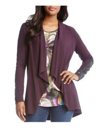 Karen Kane - Purple Open Cardigan With Vegan-leather Trim - Lyst
