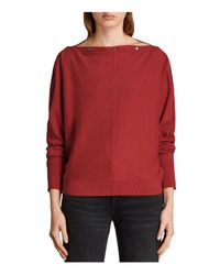 AllSaints | Red Elle Snap-detail Sweater | Lyst