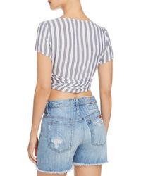 Aqua - Blue Tie-front Striped Cropped Top - Lyst