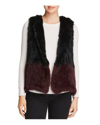 525 America - Black Two-tone Real Rabbit Fur Vest - Lyst
