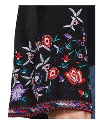 Aqua - Black Embroidered Cold-shoulder Top - Lyst
