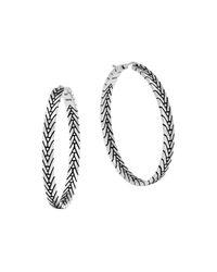 John Hardy - Metallic Sterling Silver Modern Chain Hoop Earrings - Lyst