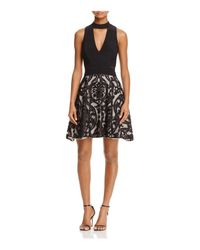Betsy & Adam - Black Flocked Party Dress - Lyst