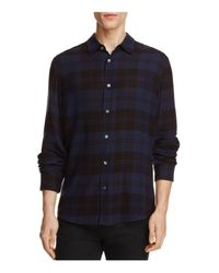 Vince | Blue Two-tone Plaid Slim Fit Button-down Shirt for Men | Lyst