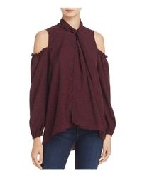 French Connection | Purple Callie Crepe Cold-shoulder Top | Lyst
