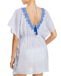 Ralph Lauren - Blue Lauren Embroidered Tunic Swim Cover-up - Lyst