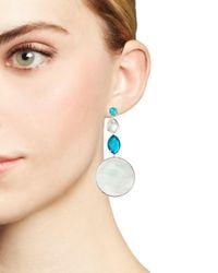 Ippolita - Metallic Sterling Silver Wonderland Mother-of-pearl & Clear Quartz Doublet Long Drop Earrings In Bermuda - Lyst