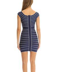 Hervé Léger - Blue Marisol Stripe Dress - Lyst