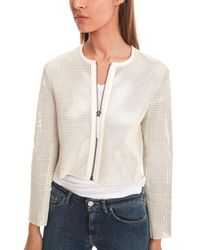 Helmut Lang - White Perforated Leather Jacket - Lyst