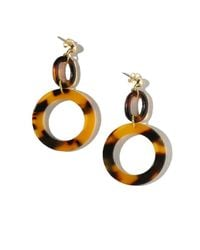Vanessa Mooney - Metallic Tortoise Shell Hoop Earrings - Lyst