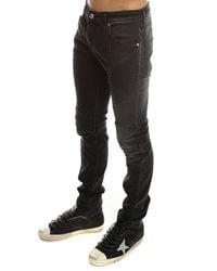 Balmain Gray Ribbed Moto Jean for men