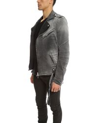 Balmain - Gray Moto Jacket for Men - Lyst