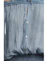 LoveShackFancy - Blue Smocked Maxi Dress - Lyst