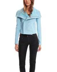 VEDA | Blue Classic Bubble Leather Jacket | Lyst