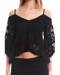 Nightcap - Black Crochet Ruffle Blouse - Lyst
