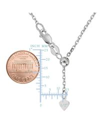 """JewelryAffairs - White Sterling Silver Rhodium Plated 22"""" Sliding Adjustable Cable Chain Necklace, 1.5mm - Lyst"""