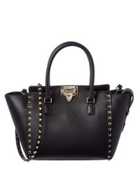 Valentino | Black Rockstud Small Leather Double Handle Tote | Lyst