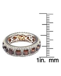 Suzy Levian - Sterling Silver Cubic Zirconia Brown And White Modern Eternity Band - Lyst