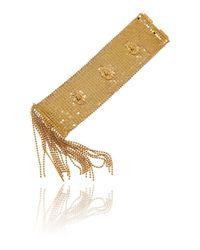 Roberto Cavalli - Metallic Gold Lion Head Chain Mesh Cuff Bracelet - Lyst