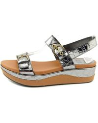 Stuart Weitzman - Gray Gatekeeper Open Toe Leather Wedge Sandal - Lyst