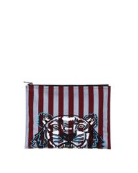 KENZO - Red Women's Burgundy/grey Polyester Clutch - Lyst