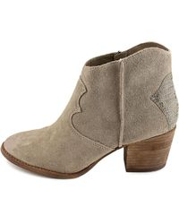 Marc Fisher - Gray Stefani Round Toe Suede Ankle Boot - Lyst