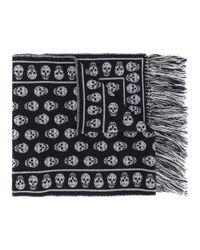 Alexander McQueen - Men's Black Wool Scarf for Men - Lyst
