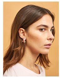 Les Nereides - White Little Cats Whith Bird And Faceted Glass Clip Earrings - Lyst