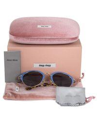 Miu Miu - Blue Cat Eye Sunglasses Smu53rs Vad1a1 52 | Azure Frame | Gray Lenses - Lyst
