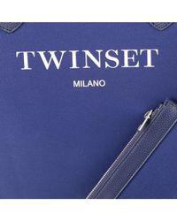 Twin Set - Women's Blue Cotton Tote - Lyst