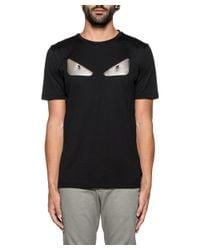 Fendi - Men's Black Cotton T-shirt for Men - Lyst