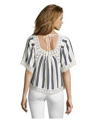 Romeo and Juliet Couture - White Woven Stripe Peasant Top With Crocheted Lace - Lyst
